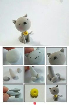 cat polymer clay tutorial by Tammy Doziercat polymer clay tutorial - I could make all our boys!Super cute cat made out of fimo clay Polymer Clay Animals, Fimo Clay, Polymer Clay Charms, Polymer Clay Projects, Polymer Clay Creations, Polymer Clay Art, Cat Fondant, Clay Cats, Cute Clay