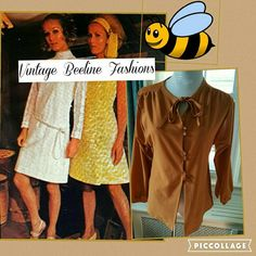 VTG Beeline Girly tie top  M The size is 34 and this is a polyester top so it is from the late sixties early seventies. It measures 16 inches shoulder to shoulder and 18 inches underarm to underarm. Tiny pull as noted in pic 4. Stila totally adorable vintage piece. Vintage Tops Blouses