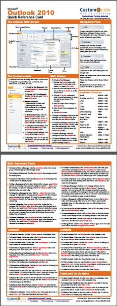 Free Outlook 2010 Cheat Sheet http://www.customguide.com/cheat_sheets/outlook-2010-cheat-sheet.pdf