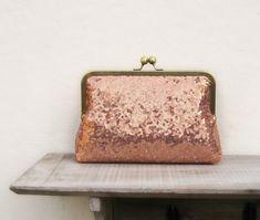 Rose gold bridesmaid clutch set, set of 3, sequin copper clutch set, bridesmaid gift, rose gold wedd