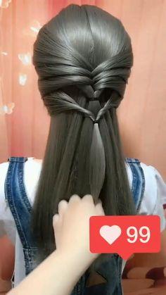 Cute Hairstyles For Medium Hair, Pretty Hairstyles, Girl Hairstyles, Messy Ponytail Hairstyles, Fringe Hairstyle, Hairstyles Videos, Updo Hairstyle, Short Hairstyle, Step By Step Hairstyles