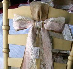 Wedding chair sash burlap pew bow Bride an groom by Bannerbanquet, $18.00