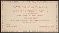 "Citation: Ticket to Gertrude Stein's lecture ""Plays and what they are"", 1934 . Prentiss Taylor papers, Archives of American Art, Smithsonian Institution."