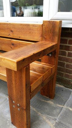 Diy Kids Furniture, Pallet Garden Furniture, Diy Outdoor Furniture, Outdoor Chairs, Outdoor Decor, Easy Woodworking Projects, Diy Wood Projects, Woodworking Plans, Porch Bench