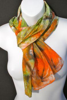Fall Tones SILK SCARF Hand Painted Silk by SilkScarvesJoanReese, $70.00