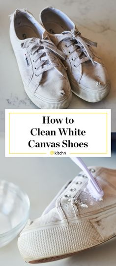 The best way to clean white canvas shoes, in terms of both effectiveness and gentleness, is with items you probably have in your pantry right now. Cleaning White Canvas Shoes, Clean Canvas Shoes, How To Clean White Sneakers, Clean Shoes, How To Make Canvas, White Keds, Sneakers Looks, How To Make Shoes, Pantry