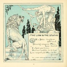 """Walter CraneIllustration for The baby's own Aesop (1908) """"The Lion & the Statue"""""""