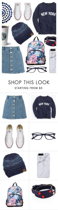 """In Between Summer and Fall"" by lostandfound92 ❤ liked on Polyvore featuring Miss Selfridge, J.Crew, Converse, EyeBuyDirect.com, C.C Cheveux, Rip Curl and Tory Burch"