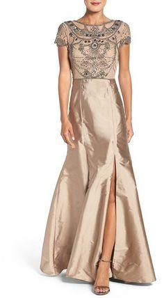 Women's Adrianna Papell Embellished Mesh & Taffeta Ballgown