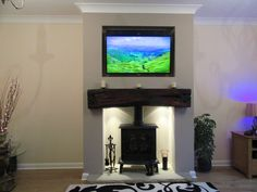 The grounds invade the living room! Log Burner Fireplace, Tv Above Fireplace, Stone Fireplace Mantel, Fireplace Design, Fireplaces, Fireplace Ideas, Wood Burner, Beige Living Rooms, Living Room Tv