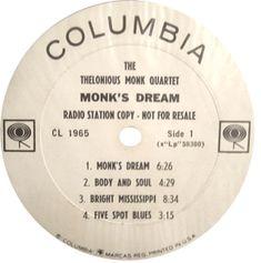White label promo of Thelonious Monk's MONK'S DREAM album 1963.
