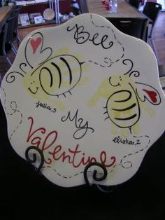 BEE my Valentine plate!! <3 Using kids finger prints as bees!!