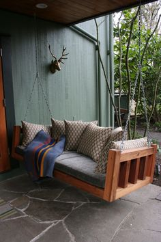 EDID - Southwest Hills Portland residence - custom outdoor swing with LINK and Great Outdoors outdoor fabrics