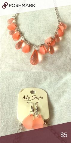 FREE w/ Bundle of 2+ Items, Necklace & Earring Set Coral Necklace and Earring Set, New Never Worn My Style Jewelry Necklaces