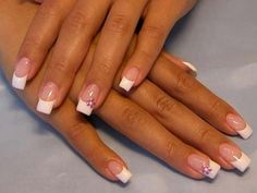 French Wedding Manicure with Purple Flower on Ring Finger