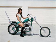 Picture of a Girl on a Green Vintage Chopper    View EXCLUSIVE Images on Our Pinterest Page- Follow Us - http://pinterest.com/lcralliesinfo/    Ride safe,      JB      LightningCustoms.com Motorcycle Rallies Site    http://www.lightningcustoms.com/rally.html