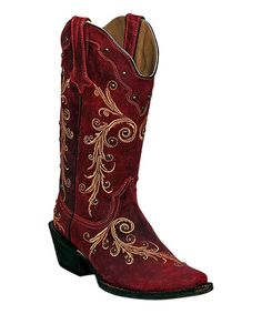 Look what I found on #zulily! Hot Pink Studded Leather Cowboy Boot by Tanner Mark Boots #zulilyfinds