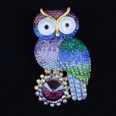 Purple Owl Brooch Pin W/ Swarovski Crystals