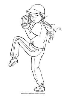 Baseball girl colouring page, for bulletin board with kids faces
