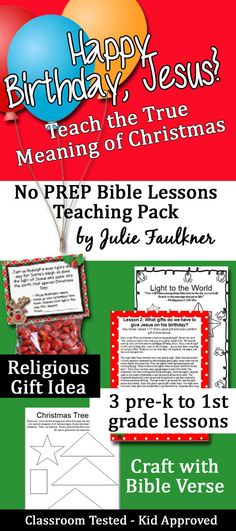 Teach the True Meaning of Christmas with this Happy Birthday Jesus Christmas Bible Lessons for Sunday School and Kids' Church - NO PREP!