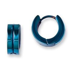 Men's Stainless Steel 14MM Blue Plated Hoop Earrings Jewelry Available Exclusively at Gemologica.com