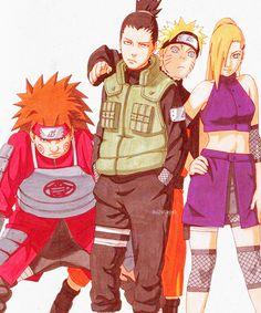 Shikamaru, Ino, Choji, Naruto
