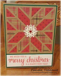 handmade Christmas card ... die cut quilt block of kraft and printed papers ... great card!