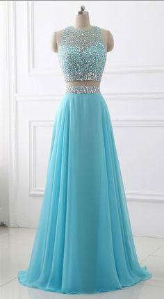 Blue Two Piece Chiffon Beaded Sparkle Long #prom #promdress #dress #eveningdress #evening #fashion #love #shopping #art #dress #women #mermaid #SEXY #SexyGirl #PromDresses