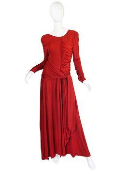 1980s Deep Red Silk Jersey Karl Lagerfeld Dress