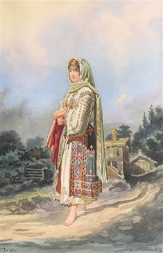 View Pesant girl from Argeş by Carol Popp de Szathmari on artnet. Browse upcoming and past auction lots by Carol Popp de Szathmari. Folk Costume, Costumes, Figure Sketching, Sketch Painting, Pictures To Paint, Eastern Europe, Traditional Outfits, Sketches, 1 Decembrie