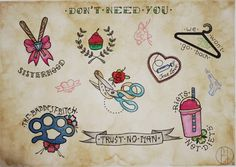 Don't need you, feminist tattoo flash. Getting the bow with the bats!