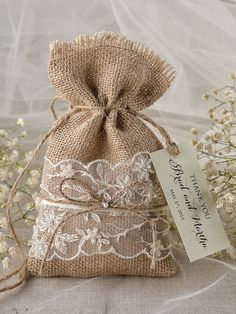 Lace Rustic Favor Bag Rustic Wedding Bag Lace by 4LOVEPolkaDots, $2.00