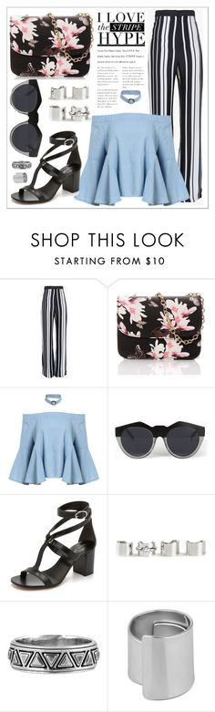 """""""Stripe Hype"""" by emma632roxx ❤ liked on Polyvore featuring Balmain, Le Specs, Michael Kors, Maison Margiela, House of Harlow 1960 and Betty Jackson"""