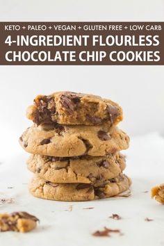 healthy cookies These are the BEST Keto Chocolate Chip Cookies- Soft, chewy, FLOURLESS and made with just 4 Ingredients! NO dairy, NO eggs and ready in just 12 minutes- These will be your go-to recipe! Paleo Cookie Recipe, Healthy Cookie Recipes, Healthy Cookies, Best Dessert Recipes, Protein Recipes, Protein Foods, High Protein, Cake Recipes, Keto Cookies