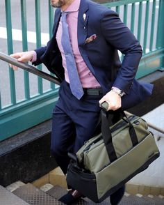 Weekender gym bag or day trip..love this duffel from @lexdray   Photo: @kathleen_oneill   Bag: @lexdray  Belt: @ansonbelt  Shirt: @trashness  Tie: @yellowhookneckties  Shoes: @vostroprezzo  Lapel pin: @finzaklifestyle