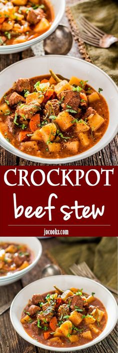 Crockpot Beef Stew - A hearty and savory slow cooker beef stew, perfect for those cold winter nights. This stew is loaded with beef, potatoes, carrots and green