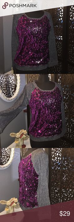 Casually Blinged Out! Black & Purple Sequins.  Casually Blinged Out! Black & Purple Sequins. Charcoal Color Long Sleeves and Back! Beta House Tops