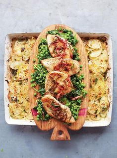 Golden Chicken, Braised Greens & Potato Gratin A proper, square meal in minutes Read more at http://www.jamieoliver.com/recipes/chicken-recipes/golden-chicken-braised-greens-potato-gratin/#SrRggIRlOTppctvs.99