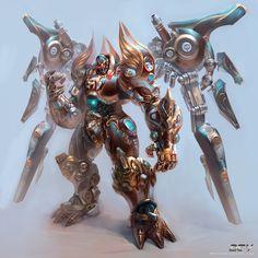 sci+fi+fantasy+armor+concept+art+design+game+axe+giant+heavy+mech+combat+battle+robot+war+master+enemy+cyborg+by+by+yuchenghong.jpg (1000×10...