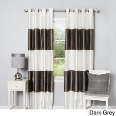 Striped Dupioni Grommet Top Blackout Curtain Panel Pair - Overstock™ Shopping - Great Deals on Curtains