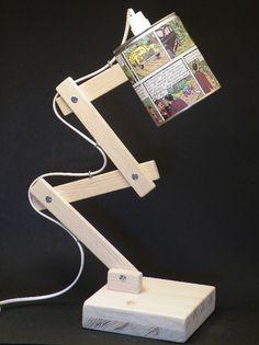 Abat-jour réalisé avec une boite de conserve.  - abat-jour orientable  - pied articulé et socle en pin naturel  - longueur du fil 150 cm, avec interrupteur  - vendu sans am - 5588651