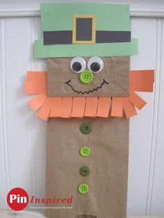 paper bag leprechaun craft for kids - so cute and easy to do for St. Patrick's Day
