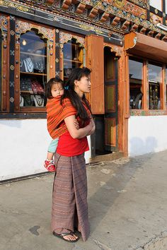 Mother and child in Paro Bhutan