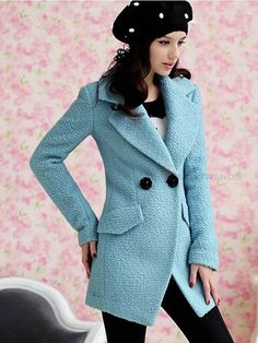 Women's Slim Wool Lapel Trench Coat Baby Blue - BuyTrends.com