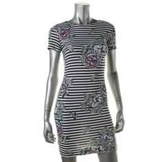French Connection Womens Floral Print Striped T-Shirt Dress