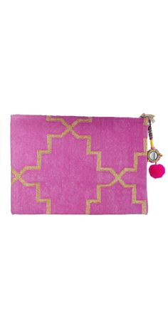 "Pink Oversized Clutch by Rock N Shop The collection """"SALAWAS"""" tells the story of the traditionally handwoven Dhurries from Rajasthan. The charm of the Dhurrie not only lies in its beauty: Dhurries are a legacy of love as they are traditionally woven by young women as a precious part of their dowries. Intrigued by the heritage of the Dhurrie we designed ecclectic clutch bags featuring contemporary Dhurrie weaves with cheerful Rajasthani embellishments. Each clutch bag is handwoven and…"