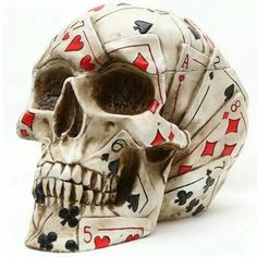 The Poker Skull Box is the skull of a gambler, covered from chin to cranium in decorative card patterns that have been painted onto the milky white surface. This cranium is detachable, making it a great place to store items as well. Totenkopf Tattoos, Arte Obscura, Inked Shop, Skull Tattoos, Art Tattoos, Skull Design, Skull And Bones, Skull Art, Macabre