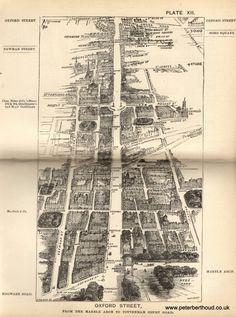 "Oxford Street -  A bird's-eye view from Herbert Fry's ""London"" (1891)"
