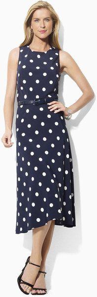 Lauren By Ralph Lauren Blue Polka Dot Midi Dress Navy Midi Dress fe3c96635