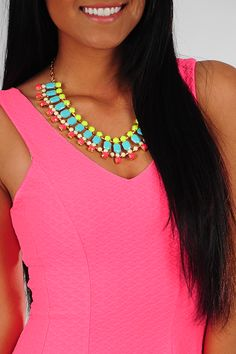 Play The Angles Necklace: Multi Neon